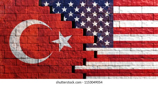 USA and Turkey relations. American and Turkish flags on cracked brick wall background. 3d illustration