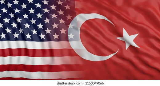USA and Turkey relations. American and Turkish waving merged flags background. 3d illustration