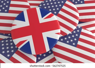 USA UK Politics Badges: US Stars And Stripes Pile With Great Britain Flag Button, 3d illustration