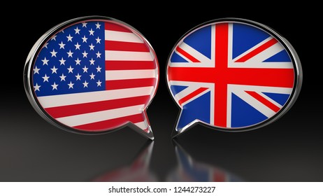 USA and United Kingdom flags with Speech Bubbles. 3D illustration