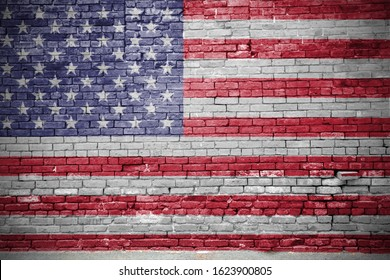 USA United States of America American Flag Graffiti on Brick Wall