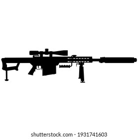USA United States Army Sniper rifle, United States Armed Forces and United States Marine Corps - Police Sniper long range rifle M82 , M107 Sniper special rifle Caliber 12,7 × 99 mm Silhouette