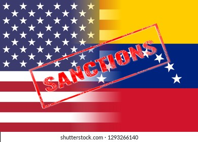 usa and venezuela flags with red stamp sanctions