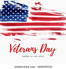 USA  Veterans day background. Abstract grunge brushed flag with text. Template for banner, greeting card, invitation, poster, flyer, etc.