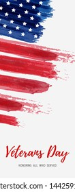 USA Veterans day background. Abstract grunge brushed flag with text. Template for vertical banner.