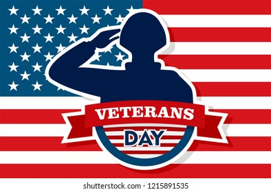 Usa veterans day concept background. Flat illustration of usa veterans day concept background for web design
