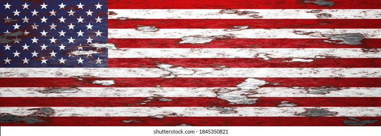 usa vintage flag in rusty metal painting 3d illustration