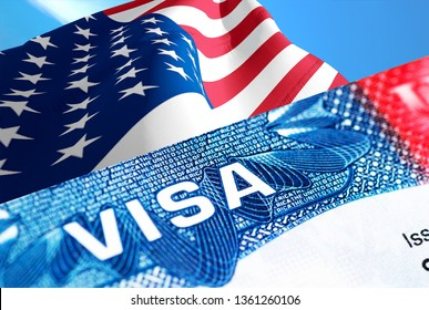 USA visa document close up, 3D rendering. Passport visa on Usa American flag. USA visitor visa in passport. American multi entrance visa in passport. Travel to USA concept - selective focus