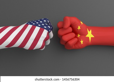 USA vs China, American and Chinese flags trade war, confrontation of America and Chinese economics, 3d illustration