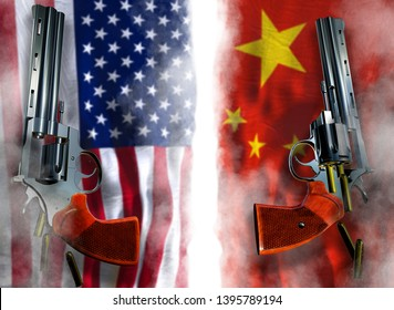 USA vs China flag background with two silver Colt revolvers Guns with opened cylinders with falling bullets magnum 357 Disarmament issue countries Nuclear weapon problem with confrontation 3d render