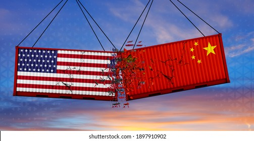 USA vs China trade war. US of America and Chinese flags on crushed containers,  cloudy sky background, banner. 3d illustration