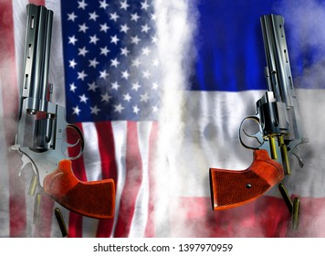 USA vs France flag background with two silver Colt revolvers Guns with opened cylinders with falling bullets magnum 357 Disarmament issue countries Nuclear weapon problem with confrontation 3d render