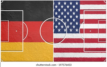 usa vs germany group g championship 2014, football field textured by national flags