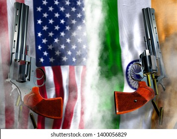 USA vs India flag background with two silver Colt revolvers Guns with opened cylinders with falling bullets magnum 357 Disarmament issue countries Nuclear weapon problem with confrontation 3d render