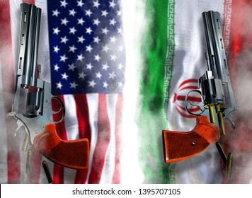USA vs Iran flag background with two silver Colt revolvers Guns with opened cylinders with falling bullets magnum 357 Disarmament issue countries Nuclear weapon problem with confrontation 3d render