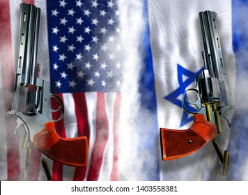 USA vs Israel flag background with two silver Colt revolvers Guns with opened cylinders with falling bullets magnum 357 Disarmament issue countries Nuclear weapon problem with confrontation 3d render