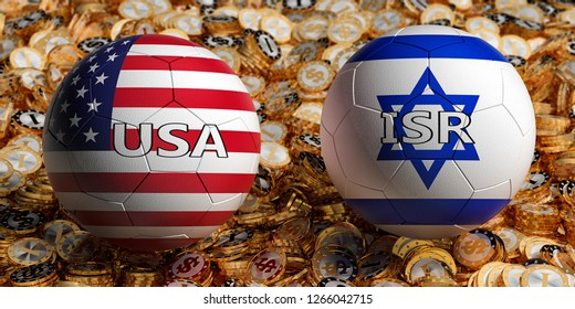 USA vs. Israel Soccer Match - Soccer balls in USA and Israel national colors on a bed of golden dollar coins. 3D Rendering