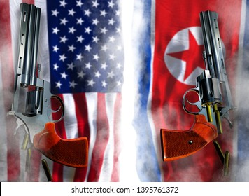 USA vs North Korea flag background with two silver Colt revolvers Guns with opened cylinders with falling bullets magnum 357 Disarmament issue countries Nuclear weapon problem confrontation 3d render