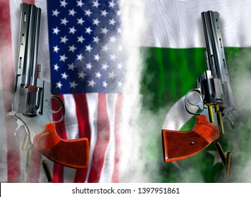 USA vs Pakistan flag background with two silver Colt revolvers Guns with opened cylinders with falling bullets magnum 357 Disarmament issue countries Nuclear weapon problem confrontation 3d render