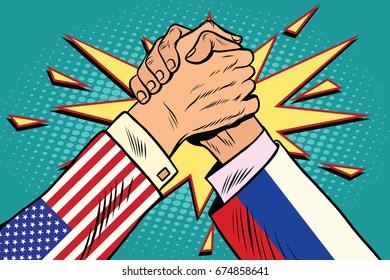 USA vs Russia. Arm wrestling fight confrontation, pop art retro  illustration