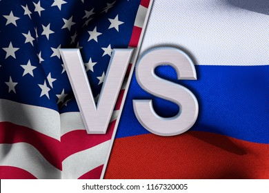 USA VS Russia conflict. Square flags. Cold war illustration. 3D render