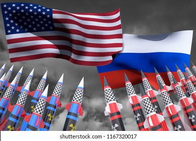 USA VS Russia conflict. Square flags. Nuclear weapons. Cold war illustration. 3D render