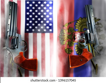 USA vs Russia flag background with two silver Colt revolvers Guns with opened cylinders with falling bullets magnum 357 Disarmament issue countries Nuclear weapon problem with confrontation 3d render