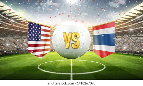 USA vs Thailand. Soccer Cup concept. Soccer concept. White soccer ball with the flag in the stadium. 2019. 3d render
