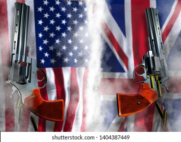 USA vs United Kingdom UK flag background with two silver Colt revolvers Guns with opened with falling bullets magnum 357 Disarmament issue countries Nuclear weapon problem with confrontation 3d render
