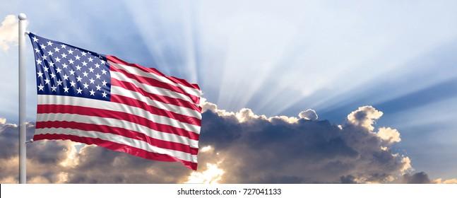 USA waving flag on blue sky. 3d illustration