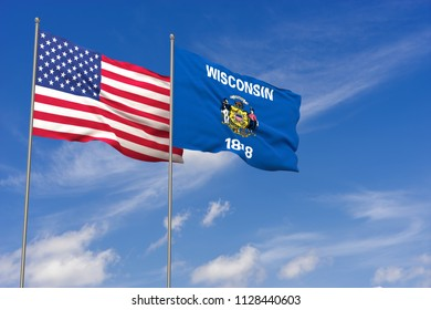 USA and Wisconsin flags over blue sky background. 3D illustration