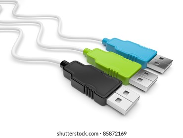 USB cable 3d. Isolated on white