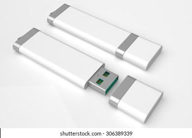 usb flash drive storage device white isolated on white background