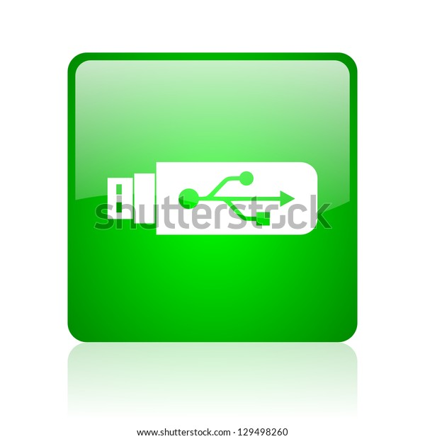 usb green square web icon on white background