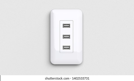 USB outlet 3d rendering CG