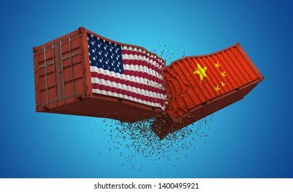 US-China Trade War, The trade war between the US and China, 3d Illustration