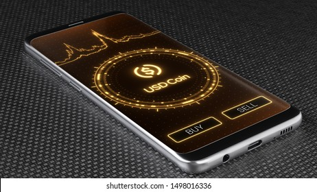 Usd coin crypto currency symbol on mobile app screen. Price graph, buy and sell buttons. Trading concept 3D illustration