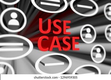 USE CASE concept blurred background 3d render illustration