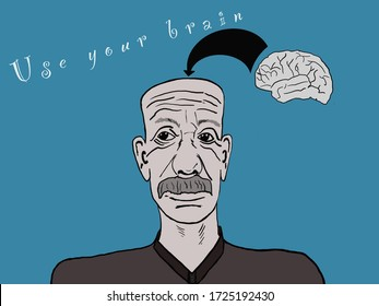 Use your brain - man with brain