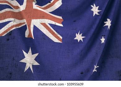 used fabric australia flag - close up