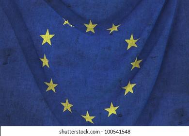 used fabric EUROPE flag - close up