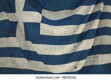 used fabric greece flag - close up