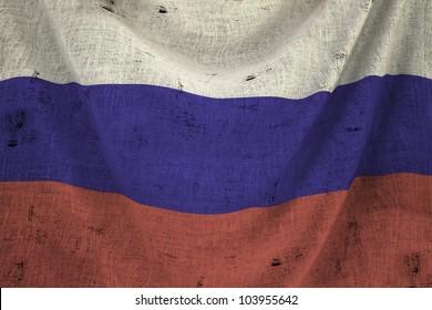 used fabric russia flag - close up