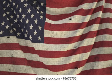 used fabric US flag - close up