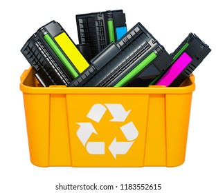 Used laser printer cartridges in recycling bin, 3D rendering isolated on white background