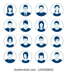 User account avatar. User portrait  icon set. Businessman portrait silhouette. Default Avatar Profile Icon Set. Man and Woman User Image. illustration