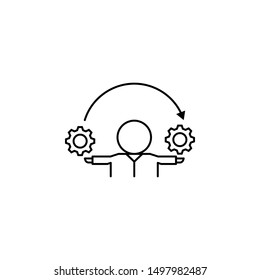User, gears, process, inventor icon. Element of life coach icon