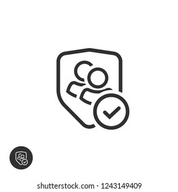 User group privacy icon, line outline authentic or confidential team data, two persons protected with shield and checkmark or tick, verified partnership symbol, secure or safe communication image