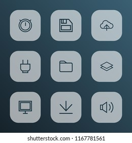 User icons line style set with socket, dossier, audio and other folder elements. Isolated  illustration user icons.