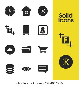 User icons set with house, will go up and bluetooth elements. Set of user icons and eye concept. Editable  elements for logo app UI design.